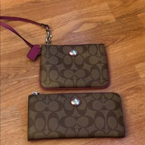 Coach pink and tan c logo wallet and wristlet.